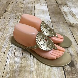 Jack Rogers Shoes - Jack Rogers Gold Jelly Thong Sandals Size 9